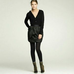 J Crew Silk Black Taffeta Tulip Mini Skirt Size 8